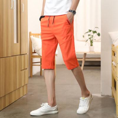 夏季休闲短裤棉麻五分裤透气男式5分裤韩版休闲薄款裤子