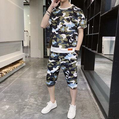 男士短袖t恤夏季潮流大码男装胖子帅气迷彩运动短裤休闲宽松套装