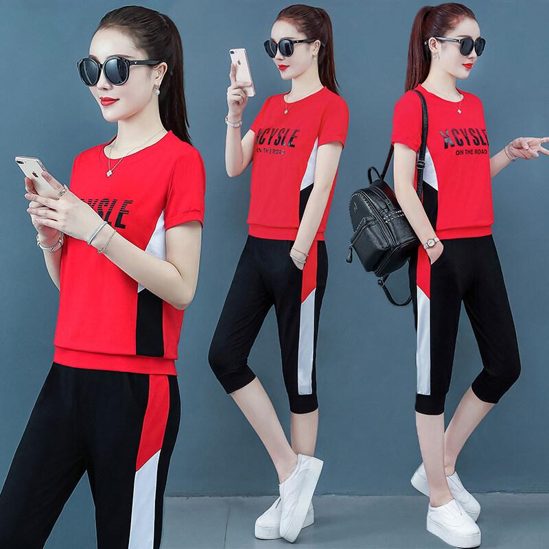 JDM215女装实拍2020新款纯棉休闲运动套装时尚七分裤两件套