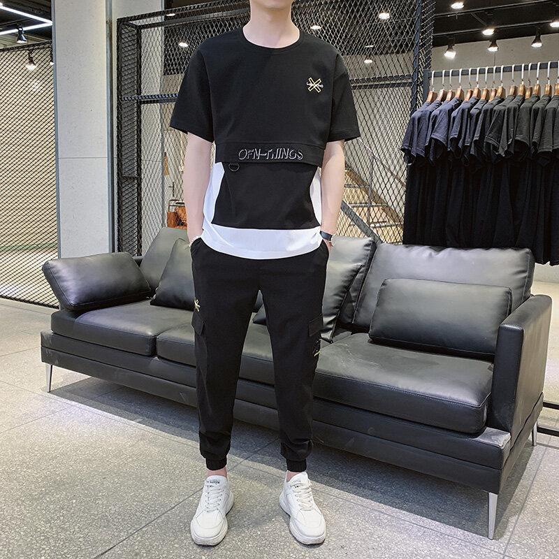 9921男士夏季套装2020新款韩版网红短袖男ins潮牌潮流两件套抖