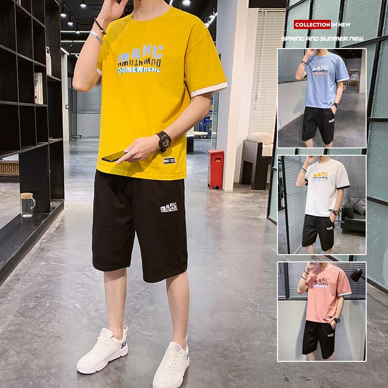 08032020夏季新款男士短袖t恤潮流衣服男装一套搭配夏装休闲套装