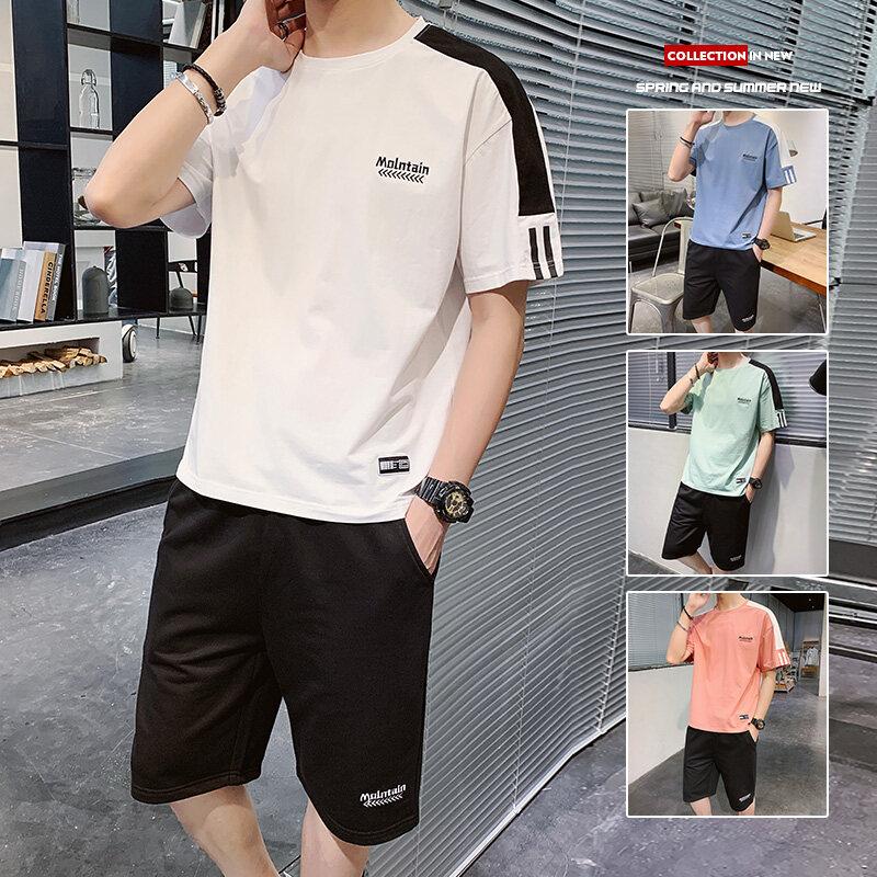 08052020夏季新款男士短袖t恤潮流衣服男装一套搭配夏装休闲套装