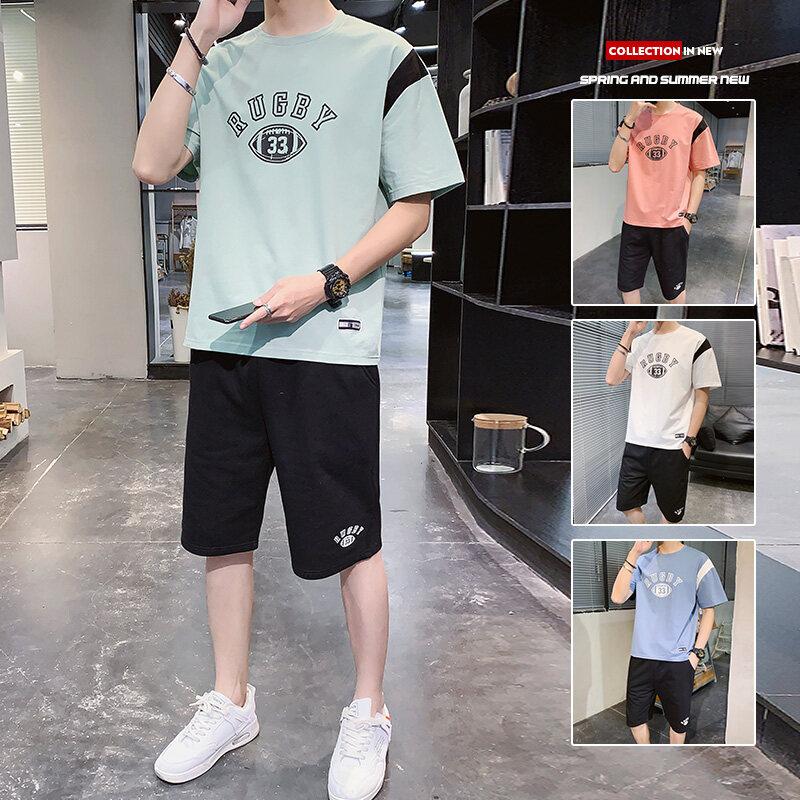 08062020夏季新款男士短袖t恤潮流衣服男装一套搭配夏装休闲套装