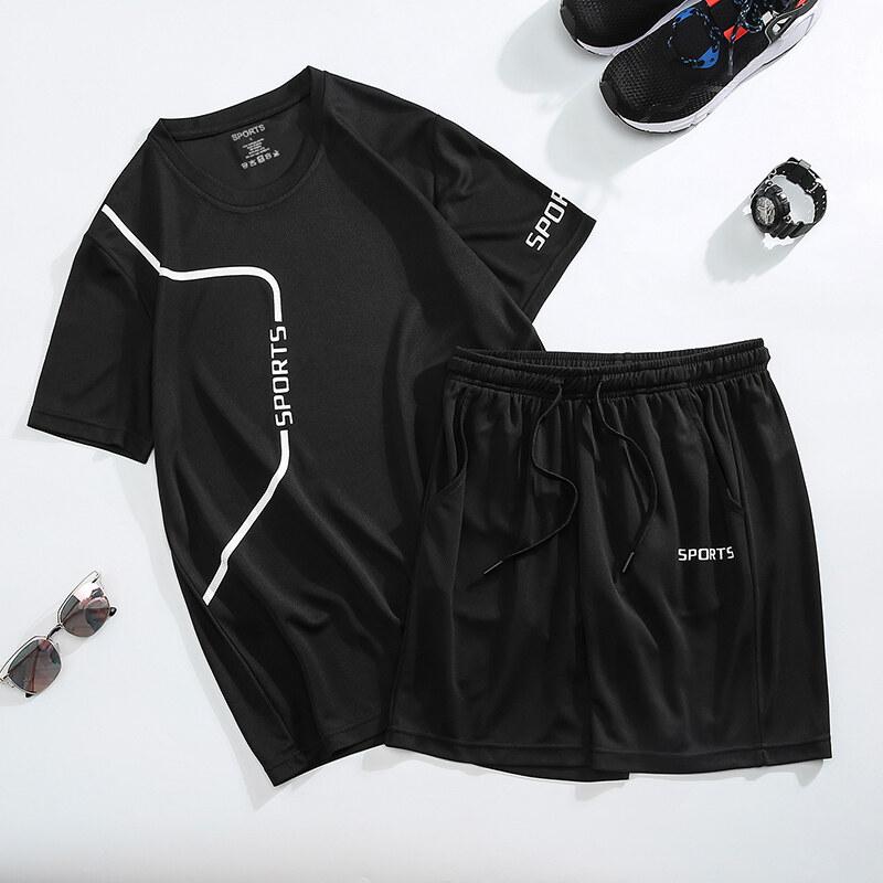 806运动套装男夏季健身短袖T恤男士速干衣服跑步宽松休闲运动服大码