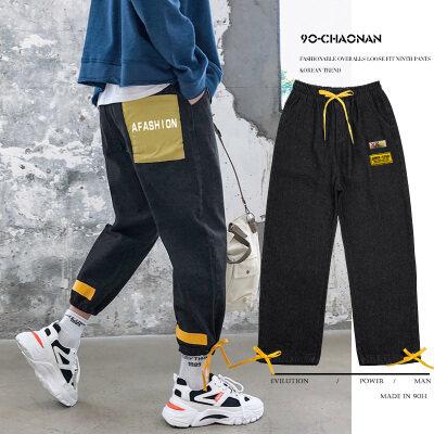 2020新款一裤两穿男士牛仔裤宽松直筒阔腿裤潮牌韩版束脚老爹