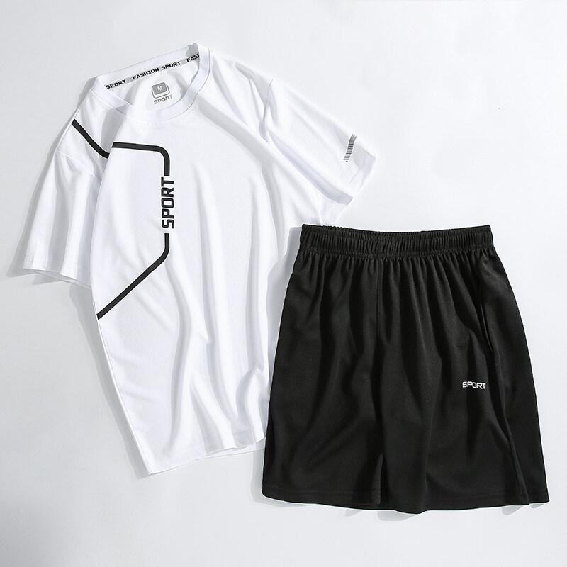 28012020夏季新款男士短袖休闲运动套装户外跑步宽松两件套