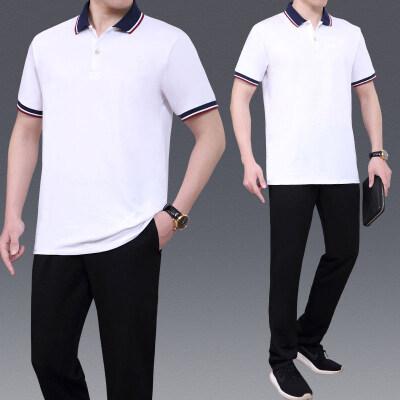 中老年男士短袖POLO衫长裤休闲套装2021时尚爸爸装两件套
