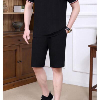 2021爸爸夏装中年男短袖短裤POLO衫套装时尚中老年人