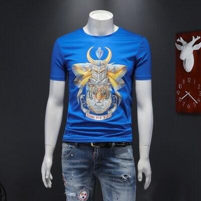2020新款春夏高品质双丝光棉 印花轻奢男士短袖T恤26139-P75