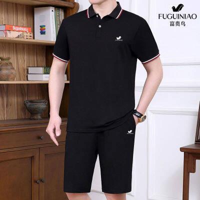 富贵鸟中老年运动套装男士夏季纯棉休闲套装男爸爸装夏天短袖短裤