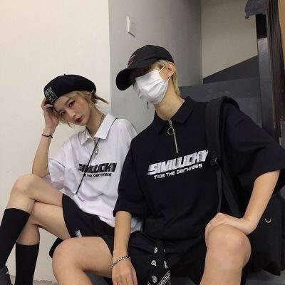 原宿风拉链Polo领短袖T恤女夏季新款韩版学生宽松印花情侣上