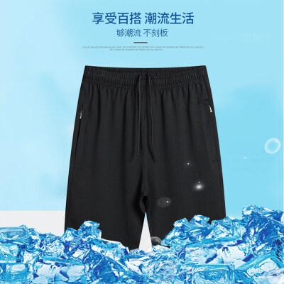 休闲运动短裤男士拉链口袋裤子宽松2021休闲夏季透气五分裤