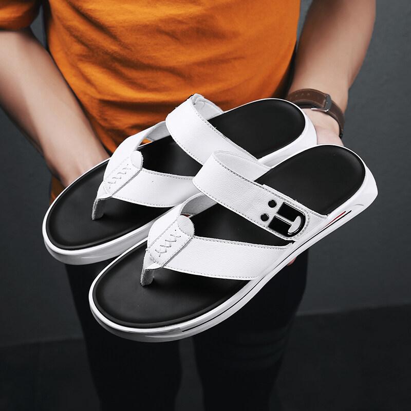 B8752【喜乐】超纤面橡胶底 真皮夏季新款网红潮牌人字拖休闲拖鞋男鞋