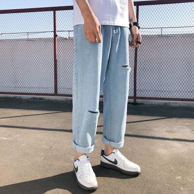 男生牛仔裤直筒宽松型春夏流行长裤子新款学生男装喇叭裤