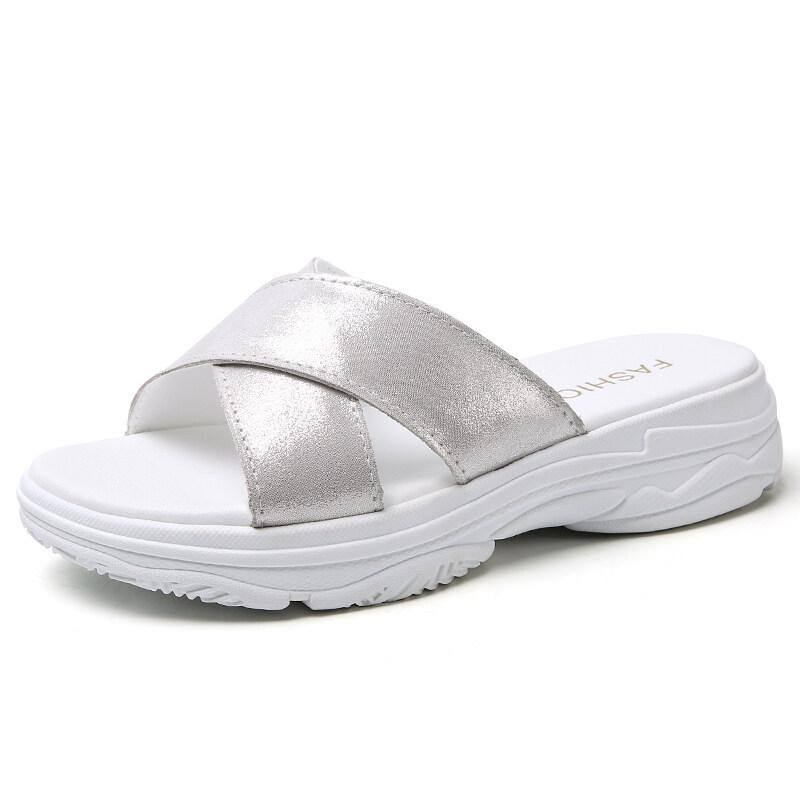 L2202女鞋凉拖鞋女式休闲鞋真皮交叉带厚底增高韩版室外穿