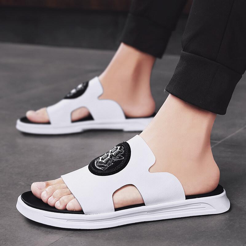 B8751【喜乐】附视频 超纤面橡胶底 夏季新款一字拖真皮防滑拖鞋男鞋