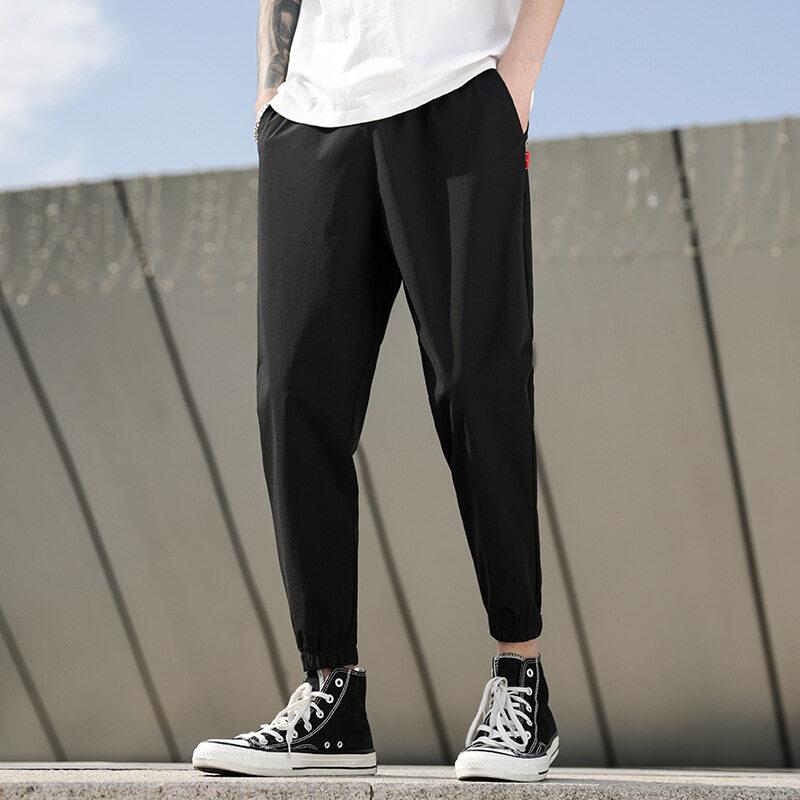 8860厂家直销男士平角休闲九分裤夏季薄款韩版修身裤学生时尚松紧长裤