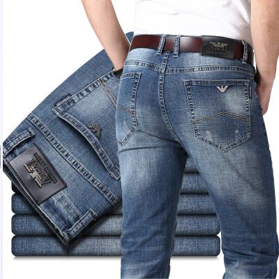 春夏新款薄款男装弹力商务直筒牛仔裤纯棉男装长裤子