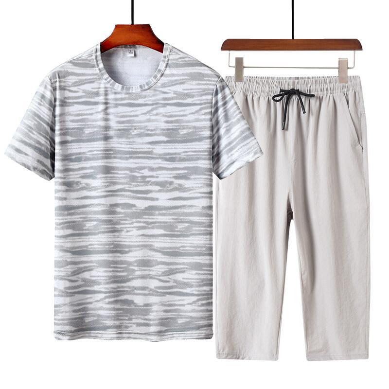 1229+7567迷彩T恤七分裤套装短裤套装夏季套装中老年套装男士速干套装