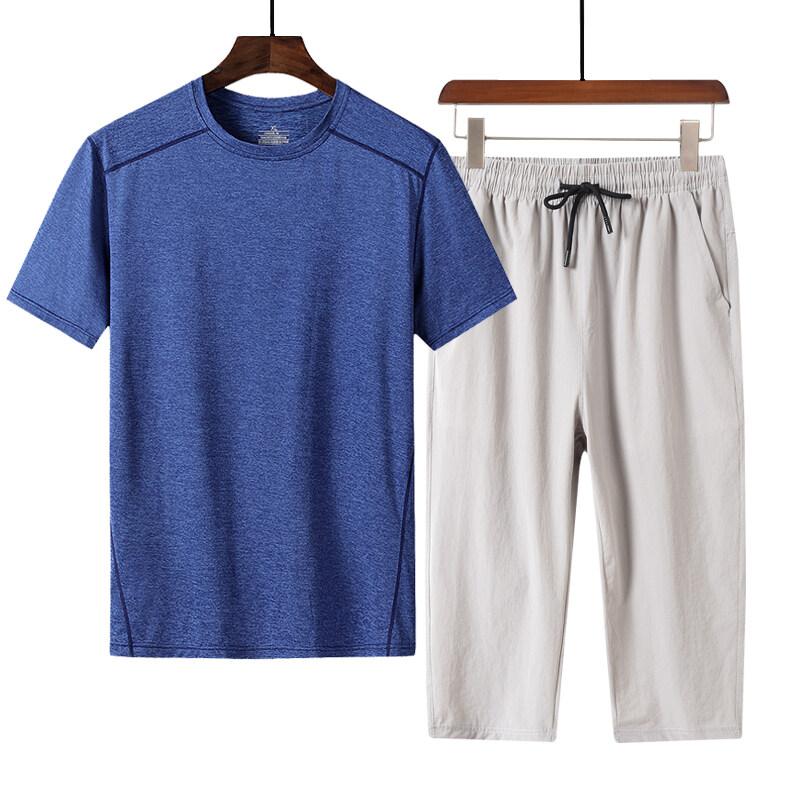 005+7567中老年套装速干套装冰丝套装冰丝T恤冰丝裤空调裤中老年T恤