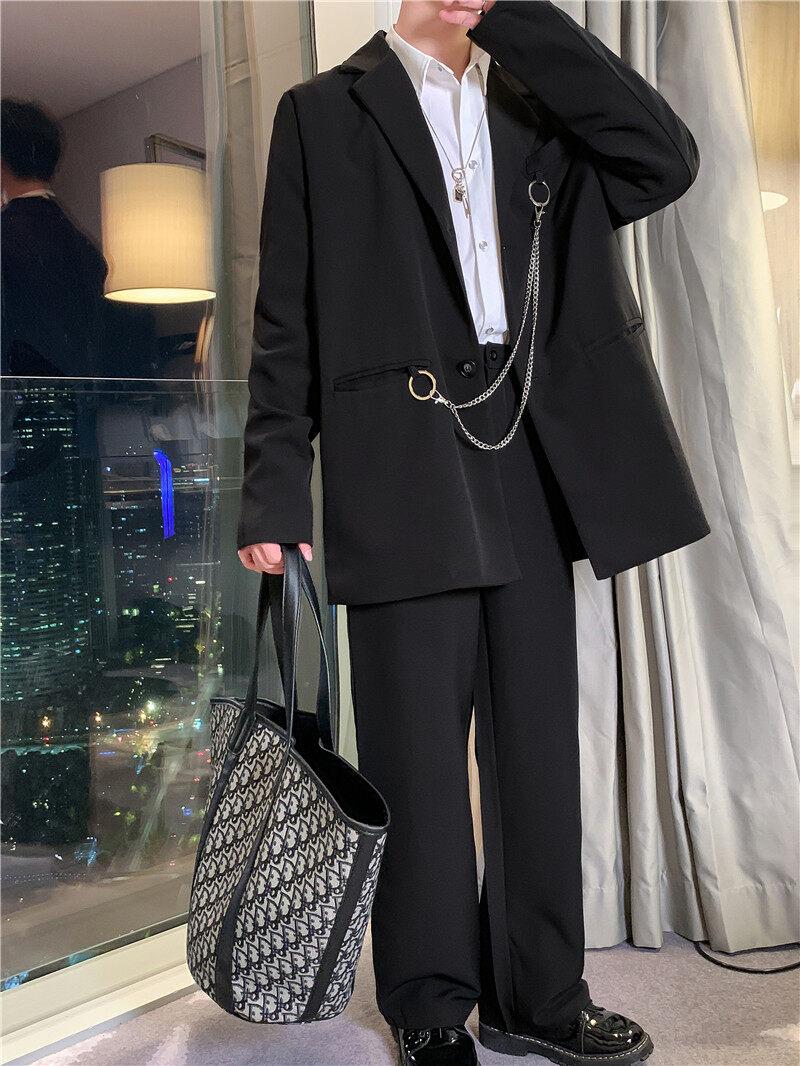 新款休闲黑色西装套装两件套潮流送挂链TF10-P145