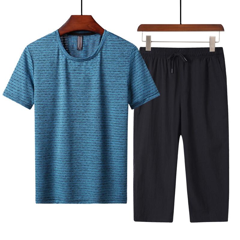 1901+7567速干T恤速干套装中老年速干套装挂拍七分裤套装短袖套装夏季套装