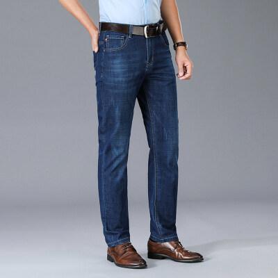 春季新款牛仔裤直筒宽松弹力裤夏季商务休闲裤男5505蓝色