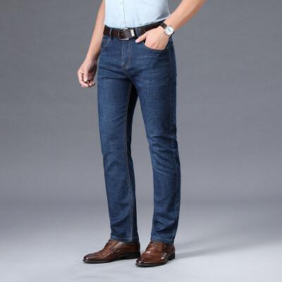 春季新款牛仔裤直筒宽松弹力裤夏季商务休闲裤男5503蓝色