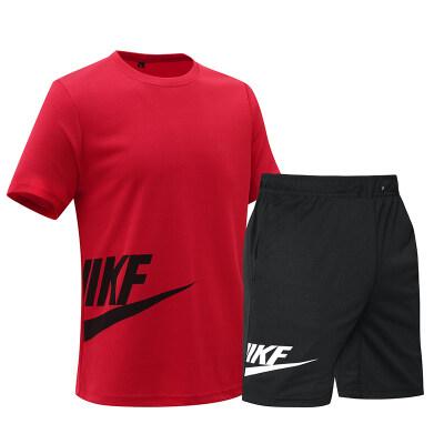 厂家供货 耐克 有量来谈 男士夏季短袖宽松休闲大码运动套装