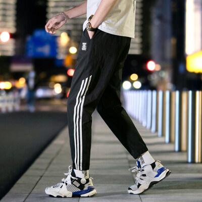 2020新款潮牌宽松时尚港风九分裤男士运动休闲裤青年帅气长裤