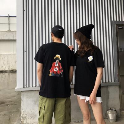 t恤女2020夏季新款男士t恤韩版大码宽松小菊花印花t恤女