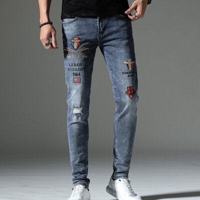 春季新款刺绣牛仔长裤男5521