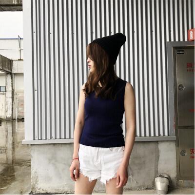 女打底衫韩版修身塑型圆领针织衫竹纤维棉质打底衫无袖套头衫