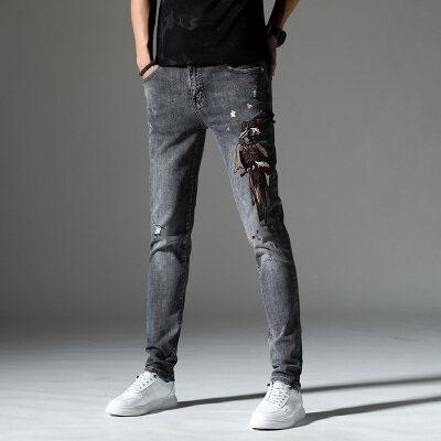 春季新款刺绣牛仔长裤男5525灰色