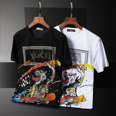 夏季潮男个性老虎印花卡通圆领烫钻短袖T恤