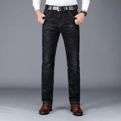 春季新款商务休闲直筒宽松弹力牛仔长裤男5355黑色
