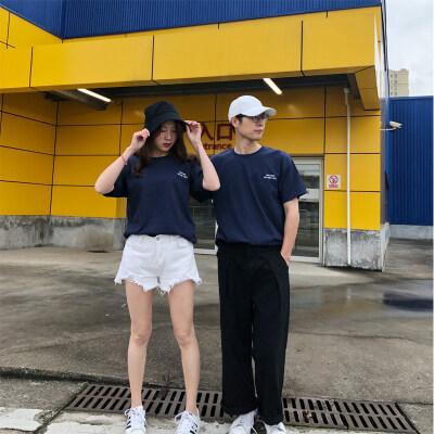 百分百纯棉t恤女韩版圆领短袖字母印花t恤男女宽松圆领套头衫潮