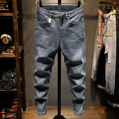 烟灰色牛仔裤男弹力修身小脚长裤韩版潮流夏季薄款青年时尚百搭裤