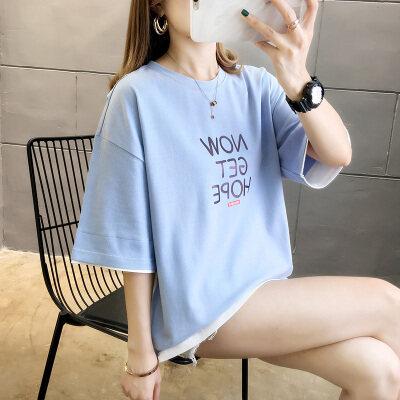 嘉健现货实拍 2020夏季新款拼色假两件短袖T恤女