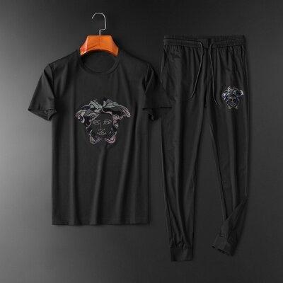 2020夏季新款男士休闲刺绣短袖T恤休闲运动套装95123