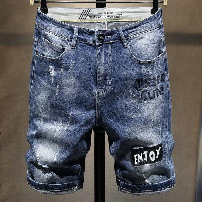 男士春夏新款弹力刺绣印花牛仔短裤韩版个性潮流修身五分青年裤子