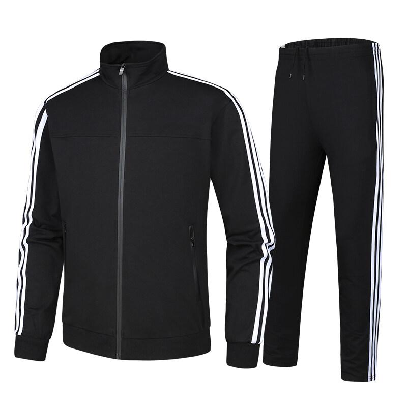 1888三条杠运动套装男春秋长袖休闲跑步运动服立领上衣直筒长裤套装
