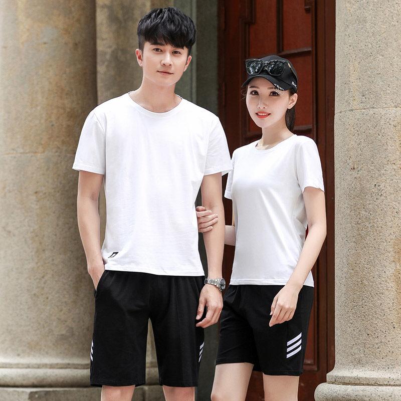 2095夏季短袖运动套装男休闲T恤短裤情侣运动服纯棉修身跑步套装