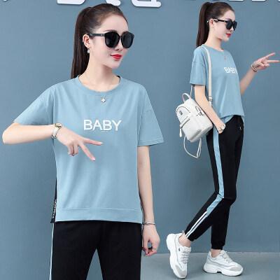 现货代发2020新款纯棉运动套装女夏季短袖长裤休闲韩版胖MM
