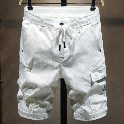 夏季白色破洞多代牛仔弹力短裤男五分裤松紧腰系带韩版休闲马裤男
