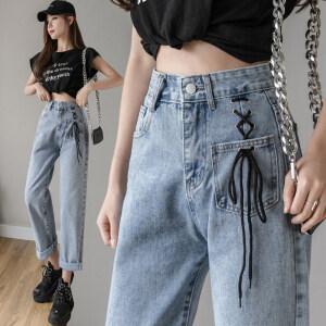 牛仔裤女2020春夏新款女式高腰宽松显瘦直筒裤泫雅风阔腿裤女