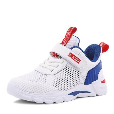 男童鞋子新款春秋款皮面中大童跑步鞋男孩潮小学生儿童网鞋运动鞋