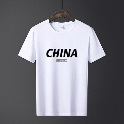 中国-2020新款短袖t恤男士夏季圆领潮流印花纯棉上衣半袖潮
