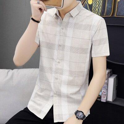 2020新款夏季短袖衬衫男韩版潮流修身短袖衬衣薄款白寸衫ins297