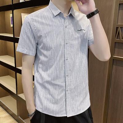 夏季衬衫男短袖韩版修身潮流帅气青少年学生休闲日系男生衬衣292